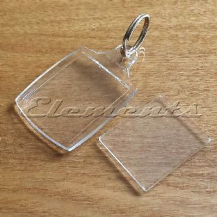 Blank Clear Acrylic Plastic Key Rings Insert Photo Personalise BM074